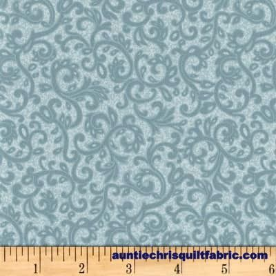 Cotton Quilt Fabric Impressions Scroll Dusty Dark Blue Tonal Floral  - product images  of