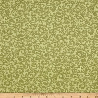 Cotton Quilt Fabric Impressions Scroll Dusty Olive Green Tonal Floral  - product images  of