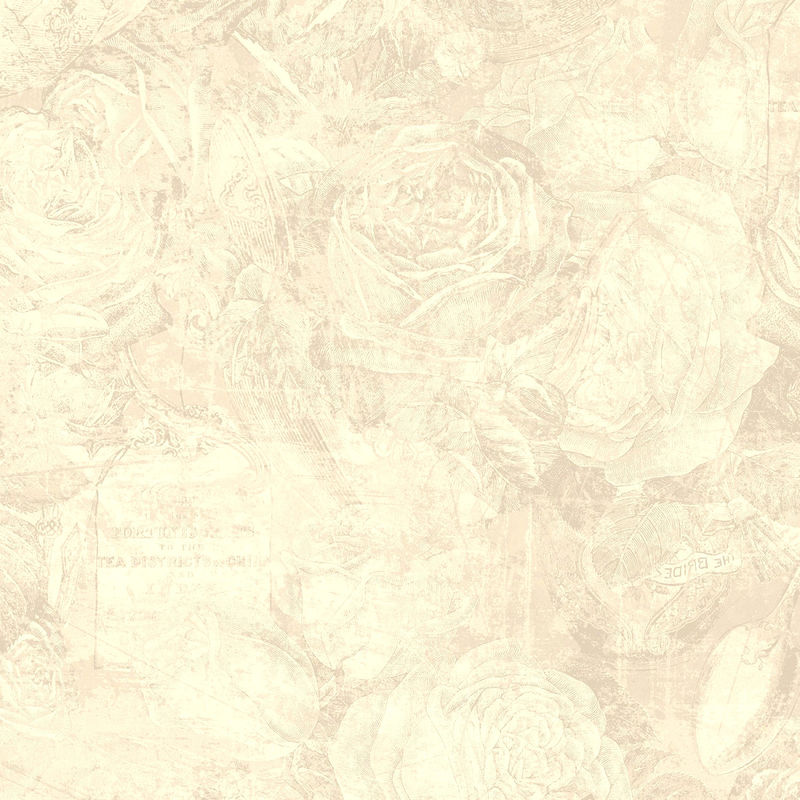 Cotton Quilt Fabric Taupe Floral Toile Tea Time Tonal Rose Floral  - product image
