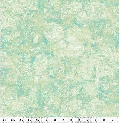 Cotton Quilt Fabric Lt Mint Green Floral Toile Tea Time Tonal Rose Floral  - product images  of