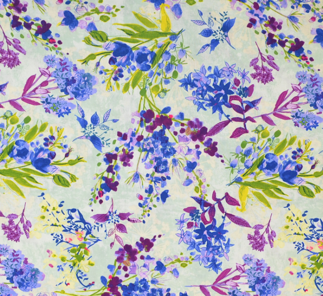 Cotton Quilt Fabric Light Turquoise Large Floral Marcella - product images  of