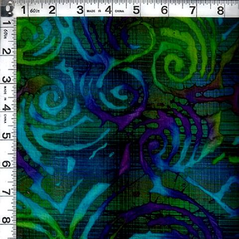 Cotton,Batik,Quilt,Fabric,India,Kaleidoscope,Jewels,Scroll,Blue,Green,kj-048,,quilt backing, dresses, quilt fabric,cotton material,auntie chris quilt,sewing,crafts,quilting,online fabric,sale fabric