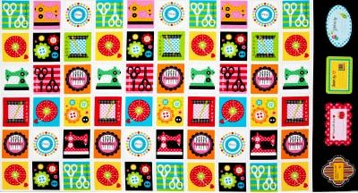 "Cotton Quilt Fabric Made with Love Sewing Box 24"" Panel  - product images  of"