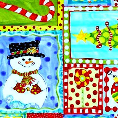 Cotton Quilt Fabric Snowman Christmas Jolly Holiday Jennifer Heynen - product images  of