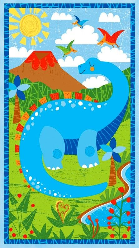 Cotton Quilt Fabric  WILMINGTON PRINTS DANDY DINOS DINOSAUR PANEL - product images  of
