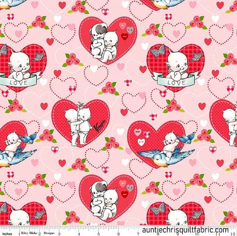 Cotton,Quilt,Fabric,Riley,Blake,Designs,Kewpie,Love,Main,Pink,Dolls,Hearts,,quilt backing, dresses, quilt fabric,cotton material,auntie chris quilt,sewing,crafts,quilting,online fabric,sale fabric