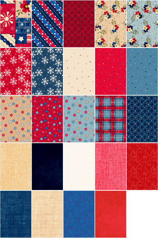 Cotton Quilt Fabric Patriotic Picnic Fat Quarter Medley 6 Yards - product images  of