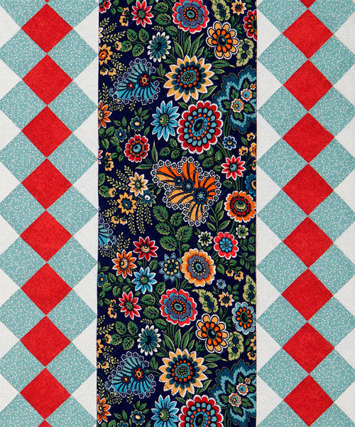 "Table Runner Kit Opulence Folk Blossom Blue Floral Runner 12"" x 30"" - product images  of"