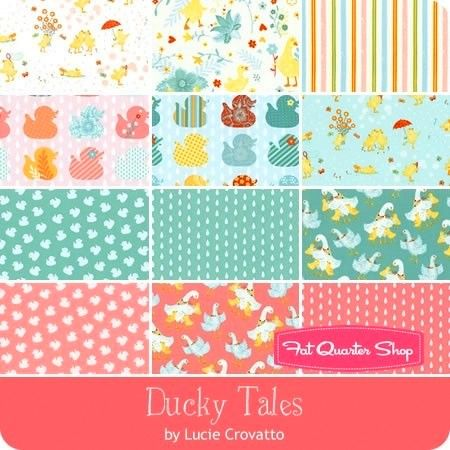 Cotton Quilt Fabric Ducky Tales Nursery Row of Ducks Pink Multi - product images  of