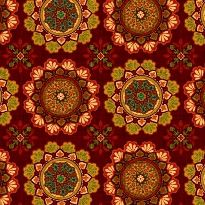 Cotton Quilt Fabric Studio E Fall Festival  Medallions Dark Red - product images  of