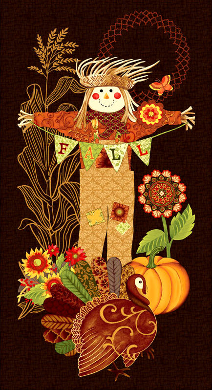 Cotton Quilt Fabric Studio E Fall Festival Autumn Scarecrow Panel  - product images  of