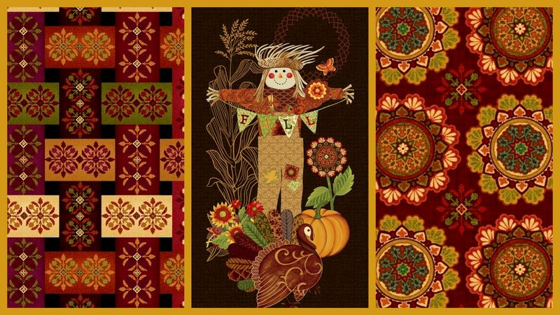 Cotton Quilt Fabric Studio E Fall Festival Medley Panel + 2 Yards - product images  of