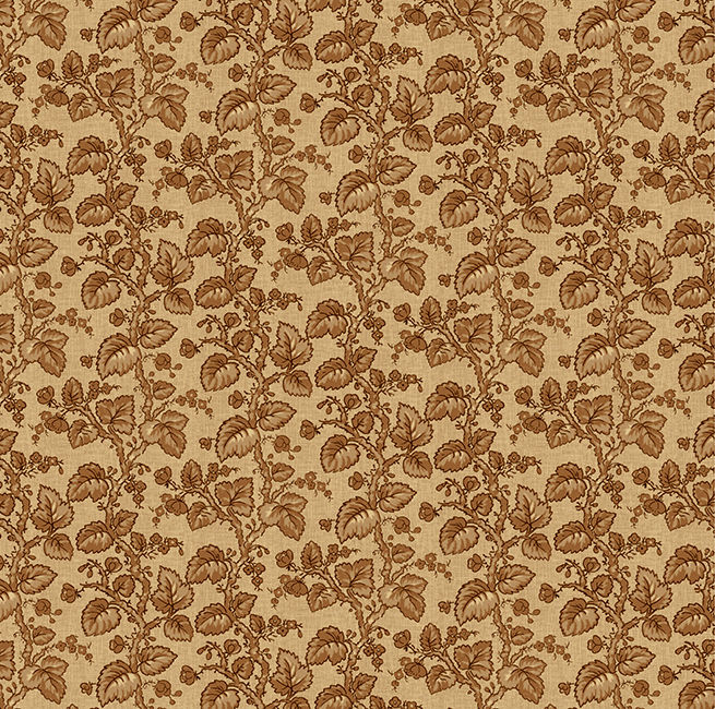 Cotton Quilt Fabric Vineyard Branches Leaves Taupe Brown Tan - product image