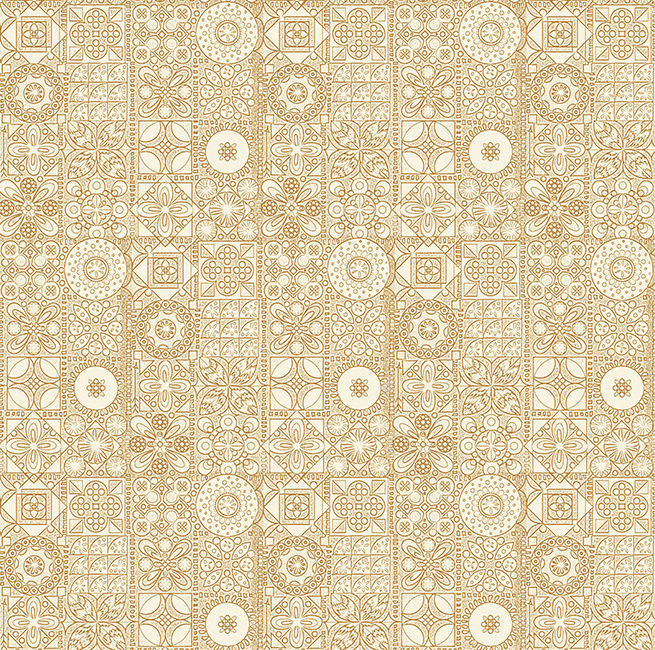 Cotton Quilt Fabric Mosaic Patchwork Ivory Cream  - product image