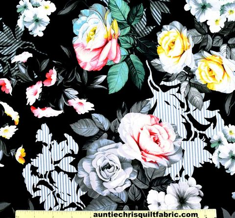 Cotton,Quilt,Fabric,Romance,MASTER,FLORAL,Black,Multi,,quilt backing, dresses, quilt fabric,cotton material,auntie chris quilt,sewing,crafts,quilting,online fabric,sale fabric