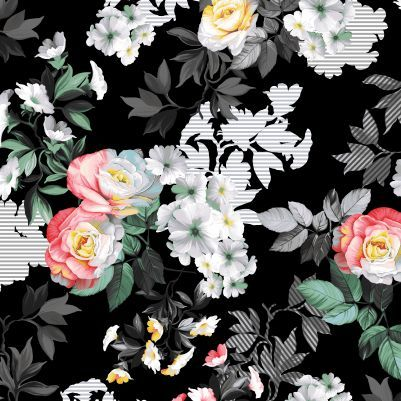 Cotton Quilt Fabric Romance MASTER FLORAL Black Multi - product images  of