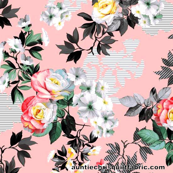 Cotton Quilt Fabric Romance MASTER FLORAL Pink Multi - product images  of