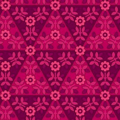 COTTON QUILT FABRIC ANTHOLOGY Magenta TONE ON TONE FLORAL TRIANGLES - product image