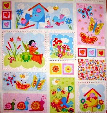 PANEL,QUILT,FABRIC,FUN,SUMMER,GARDEN,BRIGHT,BIRDS,FROGS,BUTTERFLY,,quilt backing, dresses, quilt fabric,cotton material,auntie chris quilt,sewing,crafts,quilting,online fabric,sale fabric