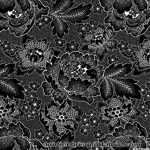 Cotton Quilt Fabric Colebrook Large Linear Floral Folk Art Blossoms Black - product images  of