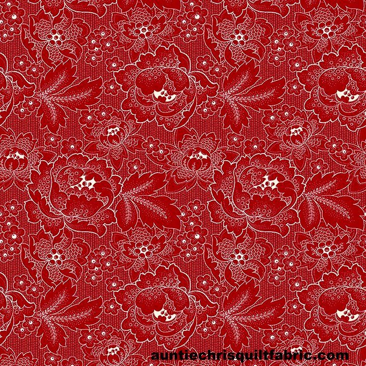 Cotton Quilt Fabric Colebrook Large Linear Floral Folk Art Blossoms Red - product images  of