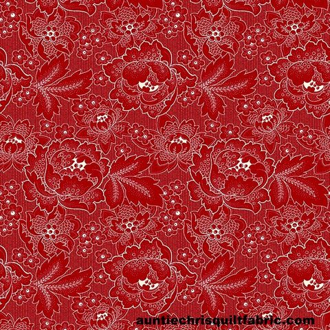 Cotton,Quilt,Fabric,Colebrook,Large,Linear,Floral,Folk,Art,Blossoms,Red,,quilt backing, dresses, quilt fabric,cotton material,auntie chris quilt,sewing,crafts,quilting,online fabric,sale fabric