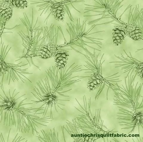 Cotton,Quilt,Fabric,By,Water's,Edge,Pinecone,Toile,Light,Green,,quilt backing, dresses, quilt fabric,cotton material,auntie chris quilt,sewing,crafts,quilting,online fabric,sale fabric