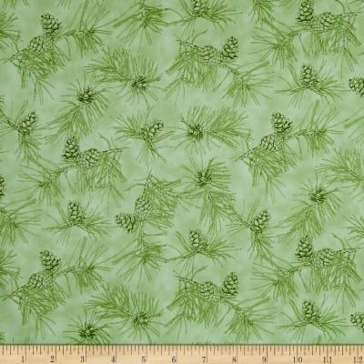 Cotton Quilt Fabric By Water's Edge Pinecone Toile Light Green  - product images  of