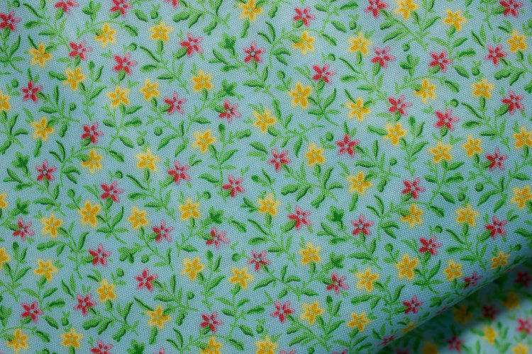Cotton Quilt Fabric Bleecker Street Blue Quilting Treasures Floral Calico - product images  of