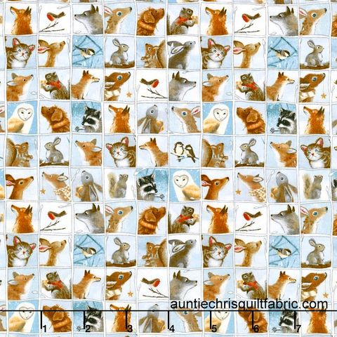 Cotton,Quilt,Fabric,Woodland,Friends,Animal,Patch,Dusty,Blue,Multi,,quilt backing, dresses, quilt fabric,cotton material,auntie chris quilt,sewing,crafts,quilting,online fabric,sale fabric