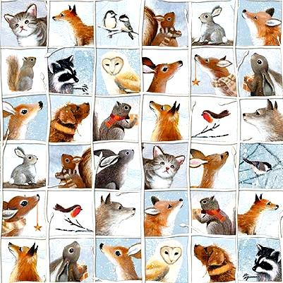 Cotton Quilt Fabric Woodland Friends Animal Patch Dusty Blue Multi - product images  of