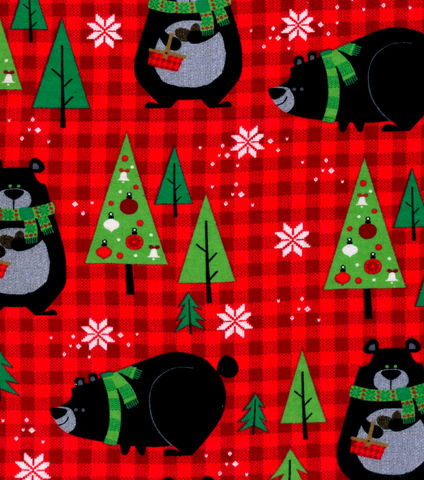 Cotton,Quilt,Fabric,Flannel,Christmas,Bears,&,Red,Plaid,Multi,,quilt backing, dresses, quilt fabric,cotton material,auntie chris quilt,sewing,crafts,quilting,online fabric,sale fabric