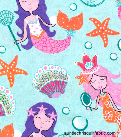 Cotton Quilt Fabric Flannel Pretty Mermaids Aqua Blue Multi - product images  of