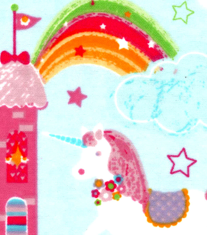 Cotton Quilt Fabric Flannel Magic Castles And Unicorns Baby Blue Multi - product images  of