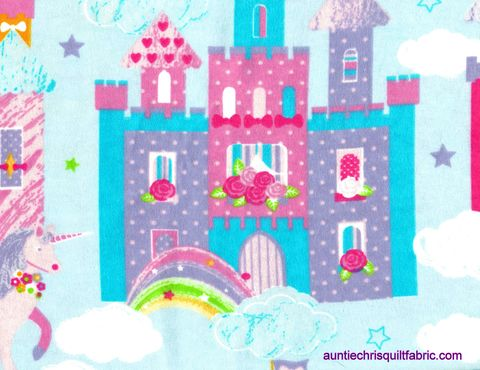 Cotton,Quilt,Fabric,Flannel,Magic,Castles,And,Unicorns,Baby,Blue,Multi,,quilt backing, dresses, quilt fabric,cotton material,auntie chris quilt,sewing,crafts,quilting,online fabric,sale fabric