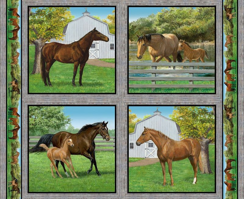 Cotton Quilt Fabric Wild Wings Summer Breeze Horse Pillow Panel Equestrian  - product image