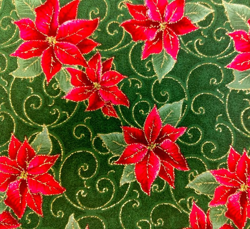 Cotton Quilt Fabric Christmas Poinsettia Scrolls Gold Metallic - product images  of