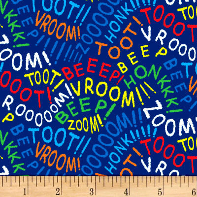 Cotton Quilt Fabric  Dear Stella Things That Go Vroom Words Dark Blue - product images  of