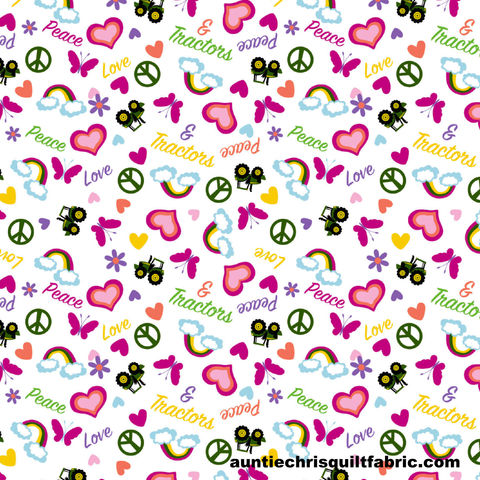 Cotton,Quilt,Fabric,John,Deere,Pink,Tossed,Peace,Love,&,Tractors,,quilt backing, dresses, quilt fabric,cotton material,auntie chris quilt,sewing,crafts,quilting,online fabric,sale fabric