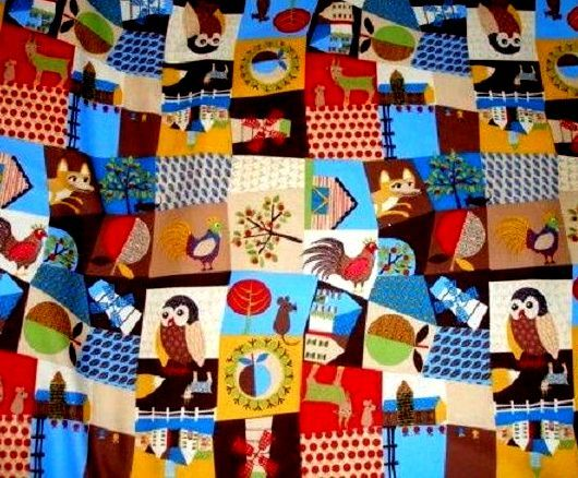 Cotton Quilt Fabric Modern Village Owl Fox Chick Deer Multi - product images  of