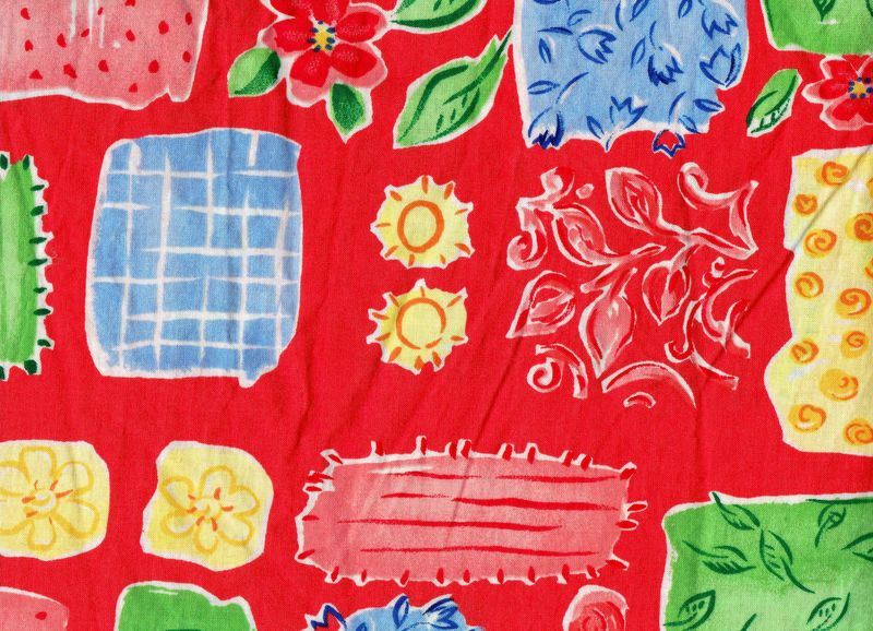 Cotton Quilt Fabric Floral Patterns Jenny Faw Light Dec Weight Red Orange Multi - product images  of