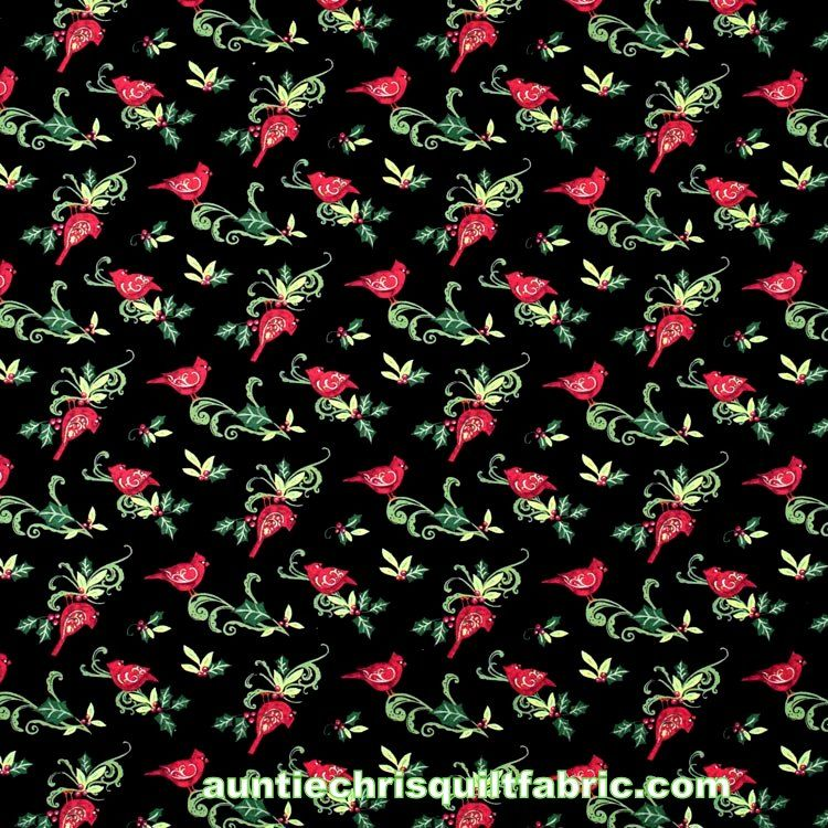Cotton Quilt Fabric Christmas Cardinal Swirl With Holly Black Multi - product images  of