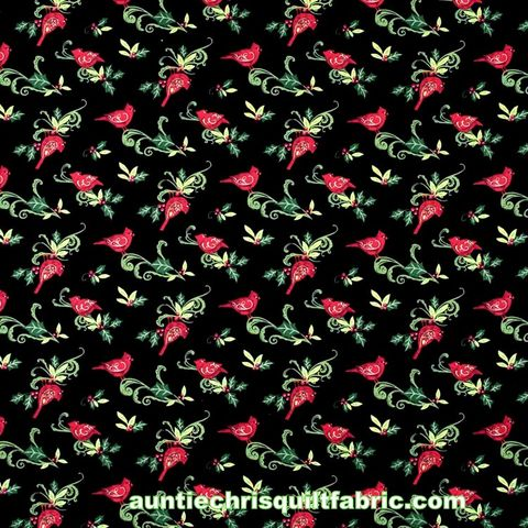 Cotton,Quilt,Fabric,Christmas,Cardinal,Swirl,With,Holly,Black,Multi,,quilt backing, dresses, quilt fabric,cotton material,auntie chris quilt,sewing,crafts,quilting,online fabric,sale fabric