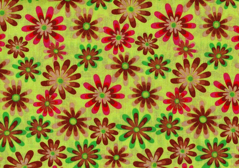 Cotton Quilt Fabric Flower Power Ditsy Daisy Lime Green Multi - product image