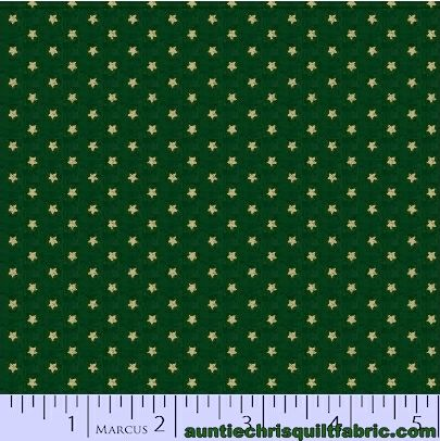 Cotton Quilt Fabric Old Sturbridge Village Christmas Little Stars Green - product images  of