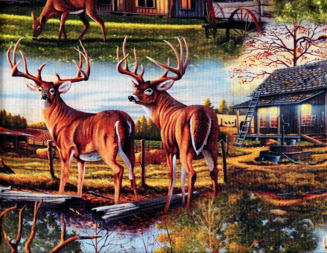 Cotton Quilt Fabric Hillside Country Deer Cabin Digital Printed - product images  of