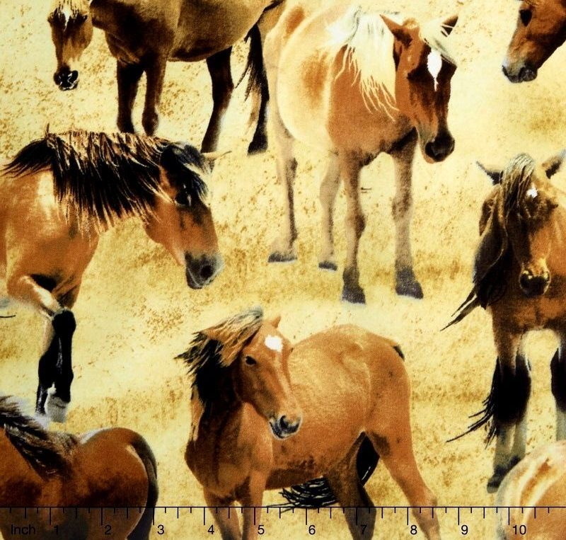 Cotton Quilt Fabric Greener Pastures 82491 221 Tan Packed Horses Equestrian - product images  of