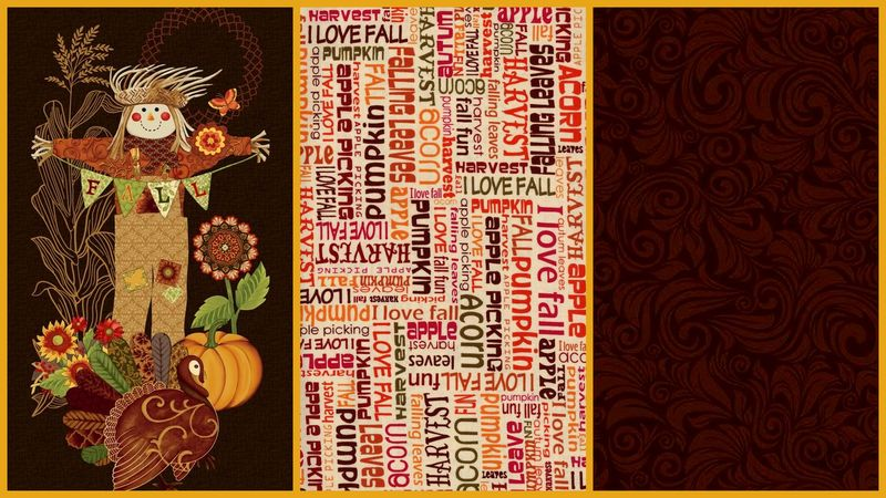 Easy Fabric Panel Quilt Kit Fall Festival Autumn Holiday Wall Quilt - product images  of