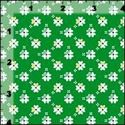 Cotton Quilt Fabric Flowers Petite Shamrock Green White Floral - product images  of