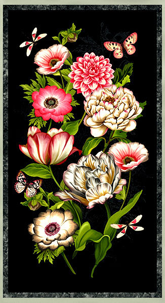 Easy Fabric Panel Quilt Kit Tivoli Garden Floral Wall Quilt - product images  of